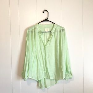 Anthropologie • Maeve Green Bat Wing Button-up Top